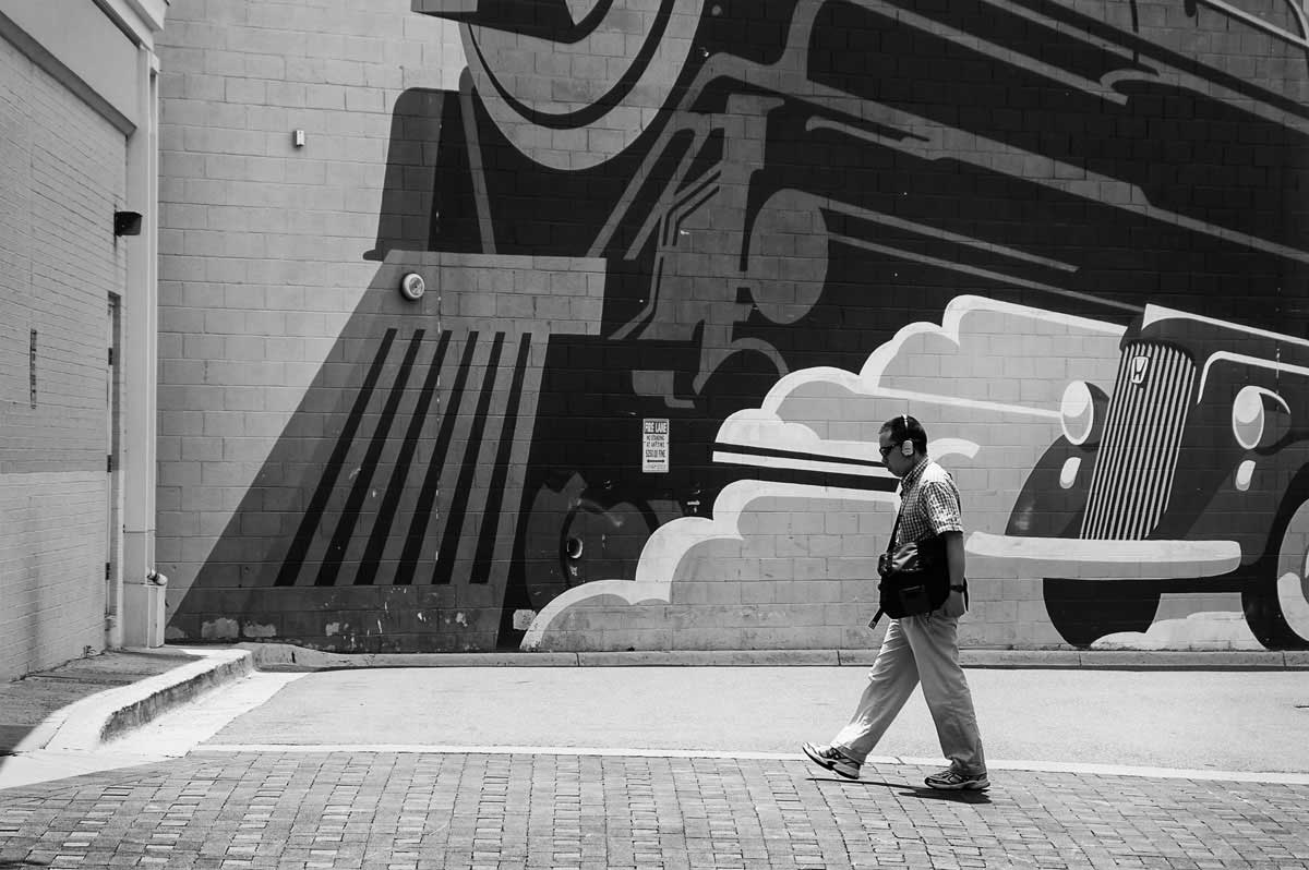 Wall Mural and man walking